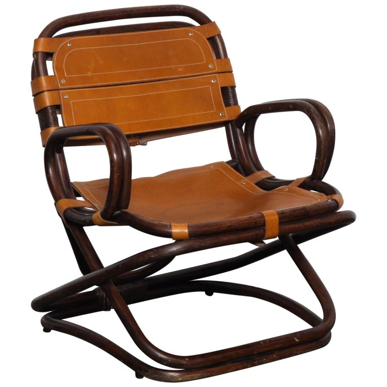 Swedish 1970s Bamboo and Leather Chair For Sale