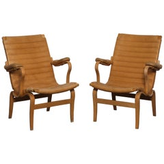 Pair of Original Leather Bruno Mathsson 'Eva' Chairs for DUX, Sweden, 1960s