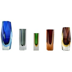 "Collection of 5 ""Sommerso"" Murano Vases in Mouth Blown Art Glass, 1960s"