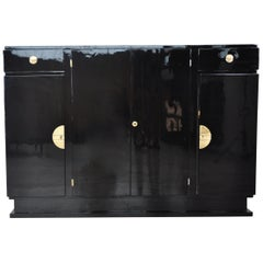Art Deco Design Highboard with Brass Fittings