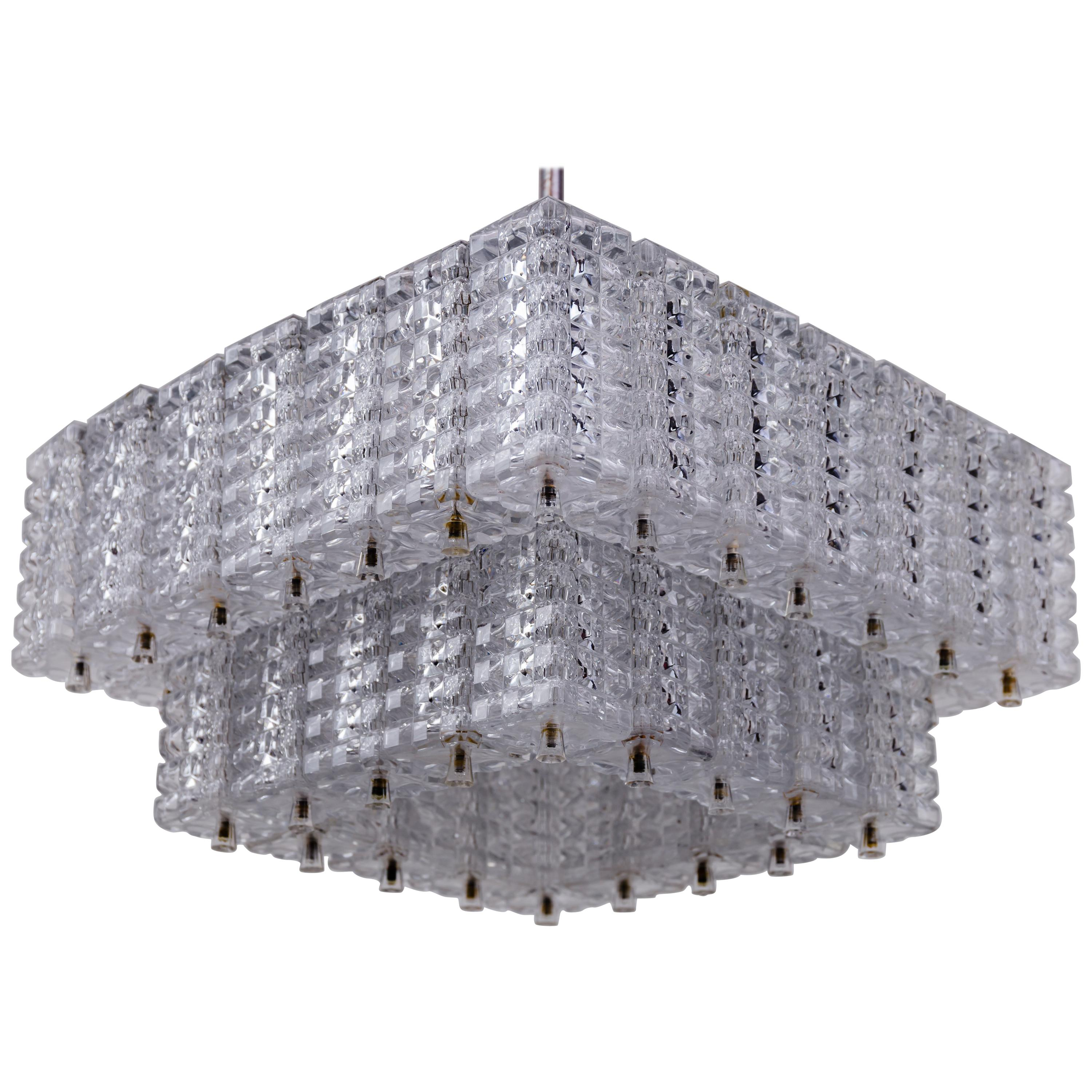 Nickel plated chandelier by Austrolux 1960s