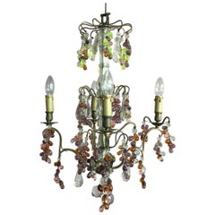 19th Century Colorful French Chandelier with Crystal Glass