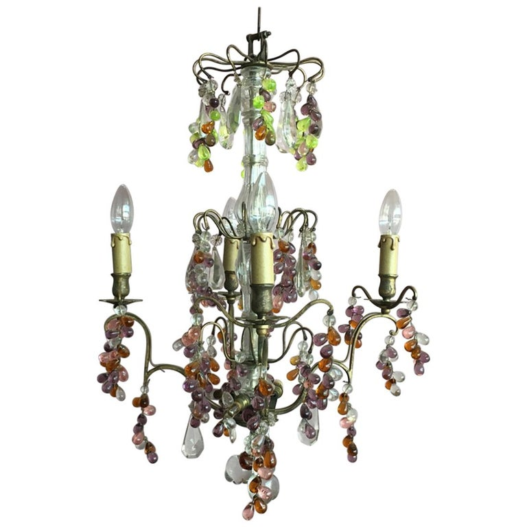 19th Century Colorful French Chandelier with Crystal Glass For Sale