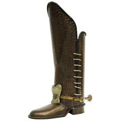 1960s Hammered Copper and Brass Boot Umbrella Stand