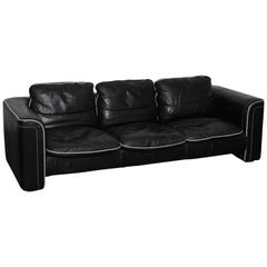 De Sede 1980s Black Leather 3-Seat Sofa