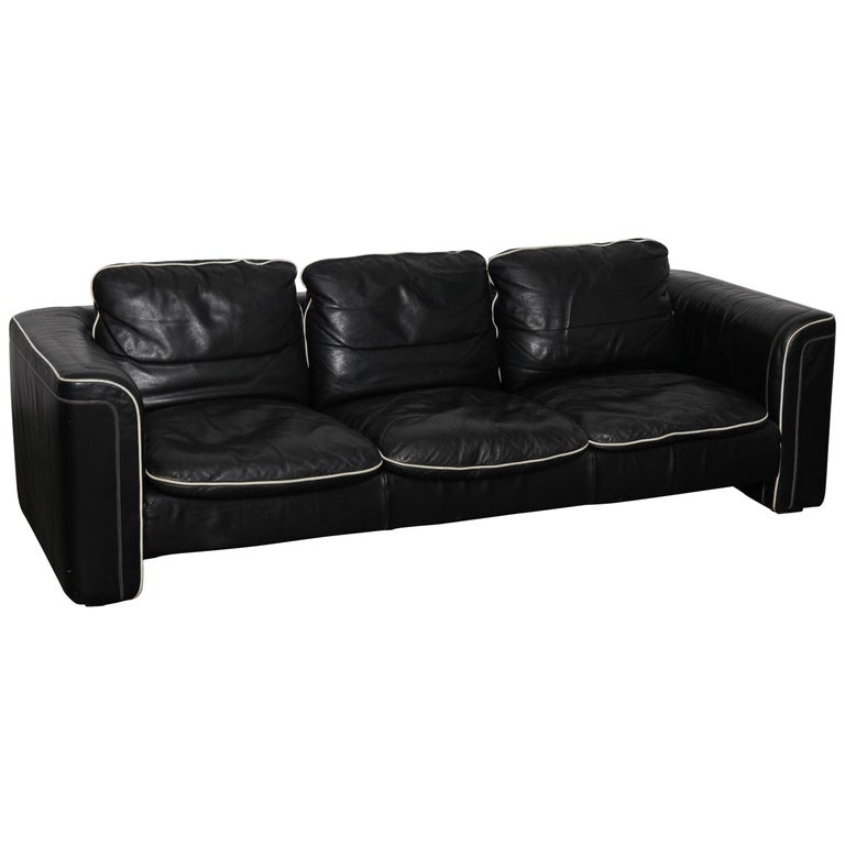 De Sede 1980s Black Leather 3-Seat Sofa For Sale