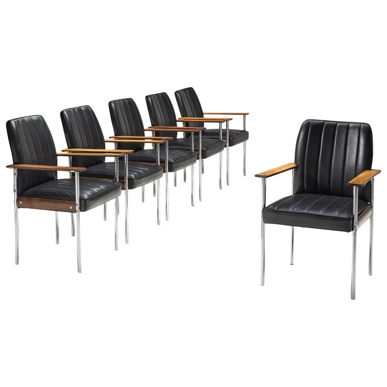 Sven Ivar Dysthe Set of Dining Chairs in Black Leather For Sale