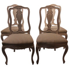 Set of Four Grey Painted Dining Chairs in the Style of Rococo from the 1860s