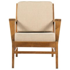 Rene Gabriel Armchair in Oak and Beige Linen Fabric Edition Lieuvin, 1950