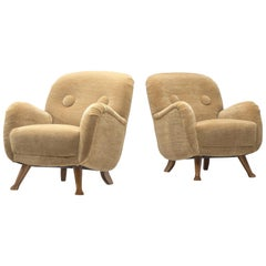 Berga Mobler Reupholstered Lounge Chairs in Beige Teddy