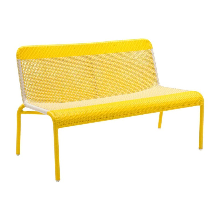 Yellow Braided Resin French Design Outdoor Sofa For Sale