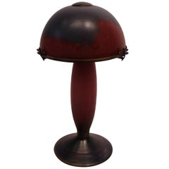French Table Lamp in Dark Purple and Bordeaux Colors, Le Verre Francais, 1920s