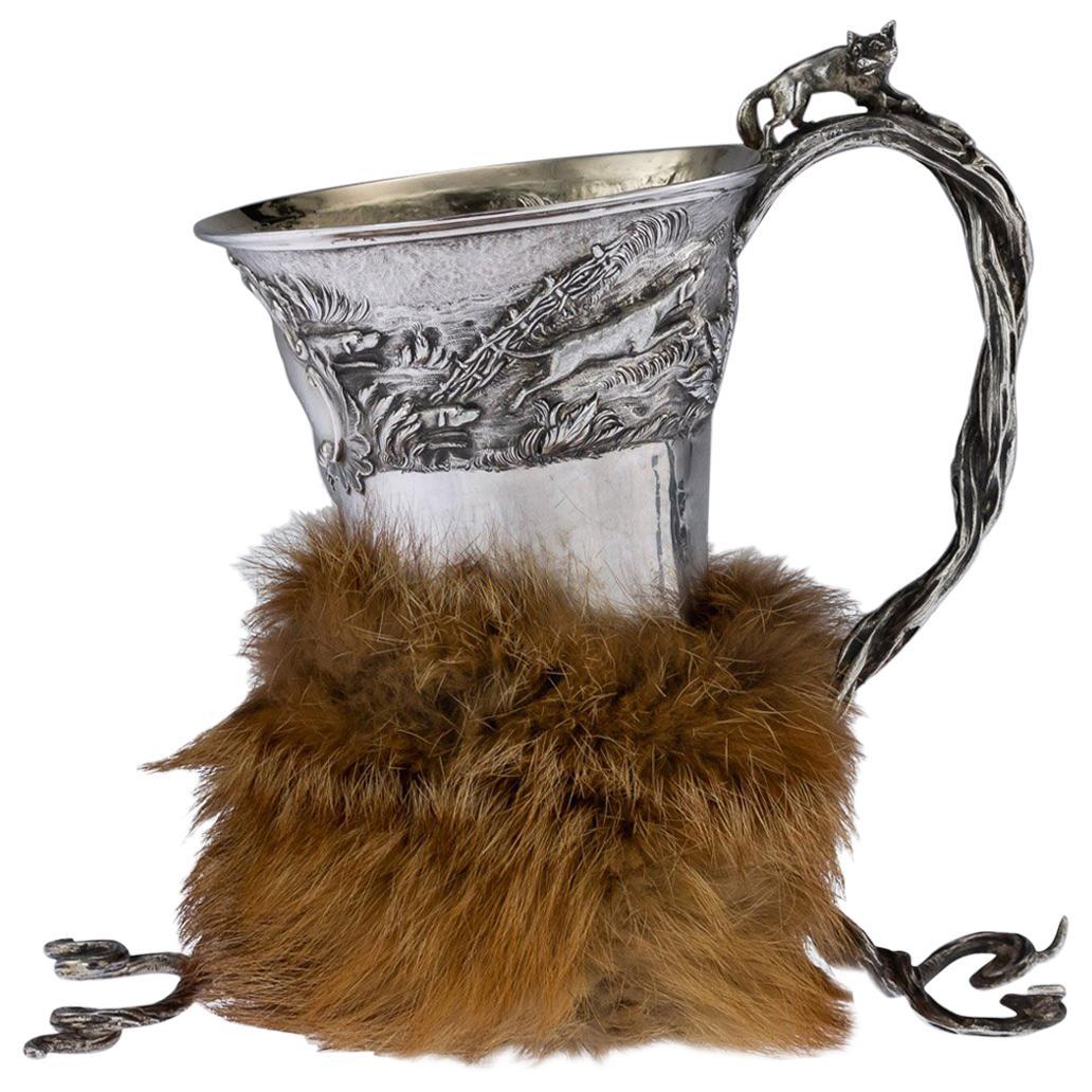 Antique Georgian Solid Silver Fox Stirrup Cup, Reily & Storer, circa 1832