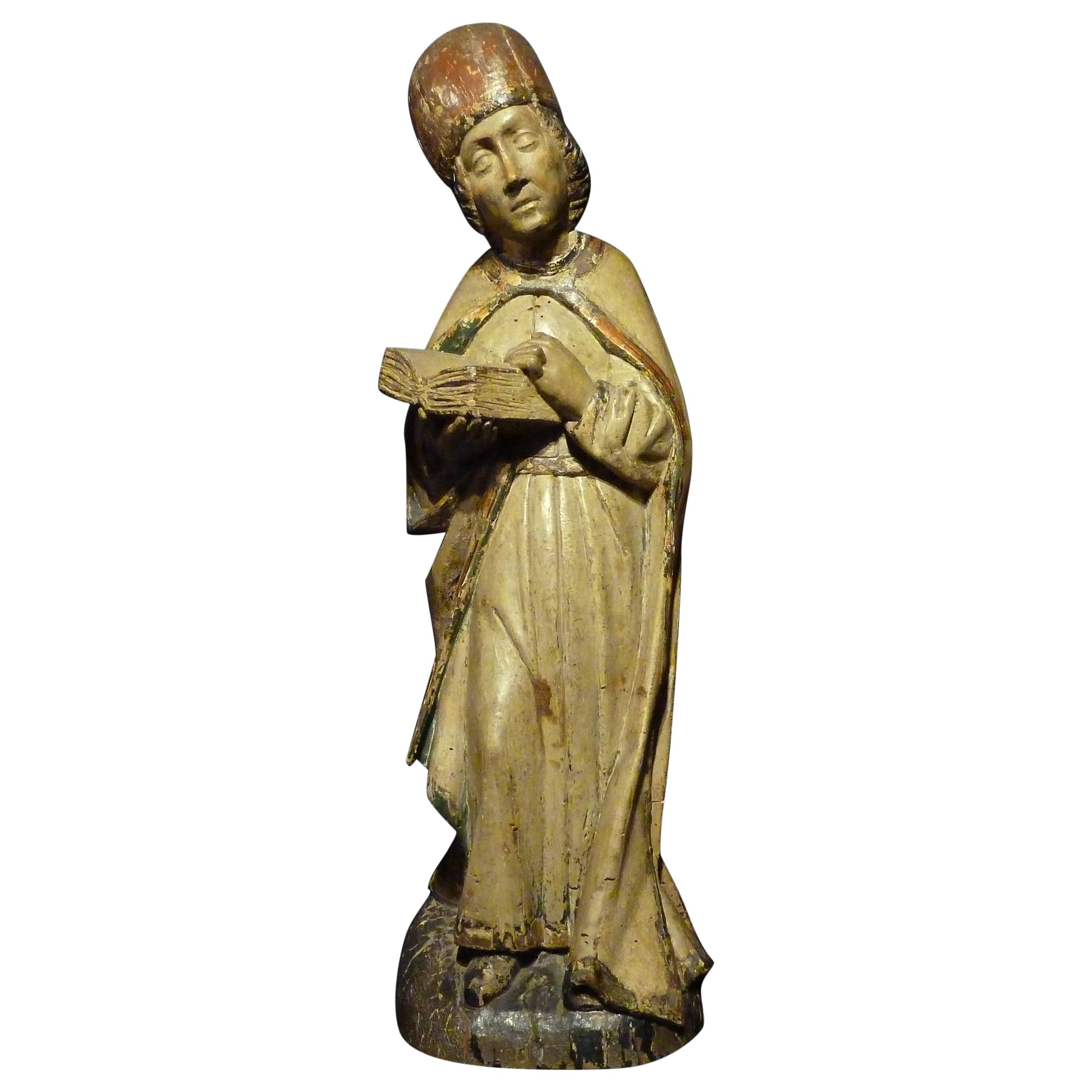 Sculpture in Polychrome Wood, Depicting Bishop