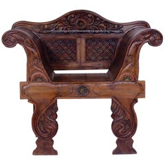 Big Antique Carved Throne, 1870s