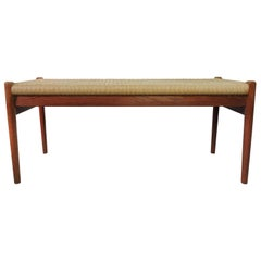 J. L. Moller Danish Teak Bench with Cord Seat, 1950s