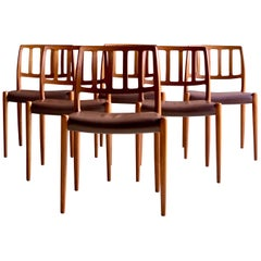 Niels Otto Møller Dining Chairs Set of Six Model 83 JL Møller Møbelfabrik Danish