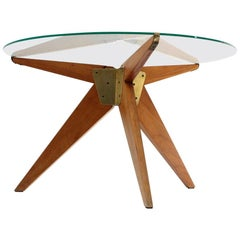 Italian Midcentury Coffee Table with Glass Top, 1950s