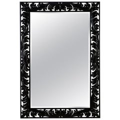 Black Roman Mirror in Black Satin Finish