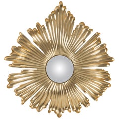 Golden Eye Mirror in Solid Mahogany Wood with Gold Paint