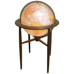 Midcentury Illuminated Floor Globe on Stand Replogle