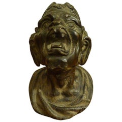 Bronze Patina Dark Knob Depicting Satyr