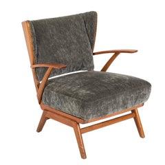 Mid-Century Scandinavian Club Armchair in hardwood and grey fabric, 1970