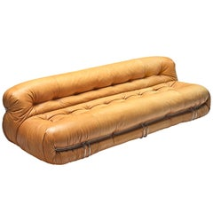Afra & Tobia Scarpa 'Soriana' Sofa in Cognac Leather