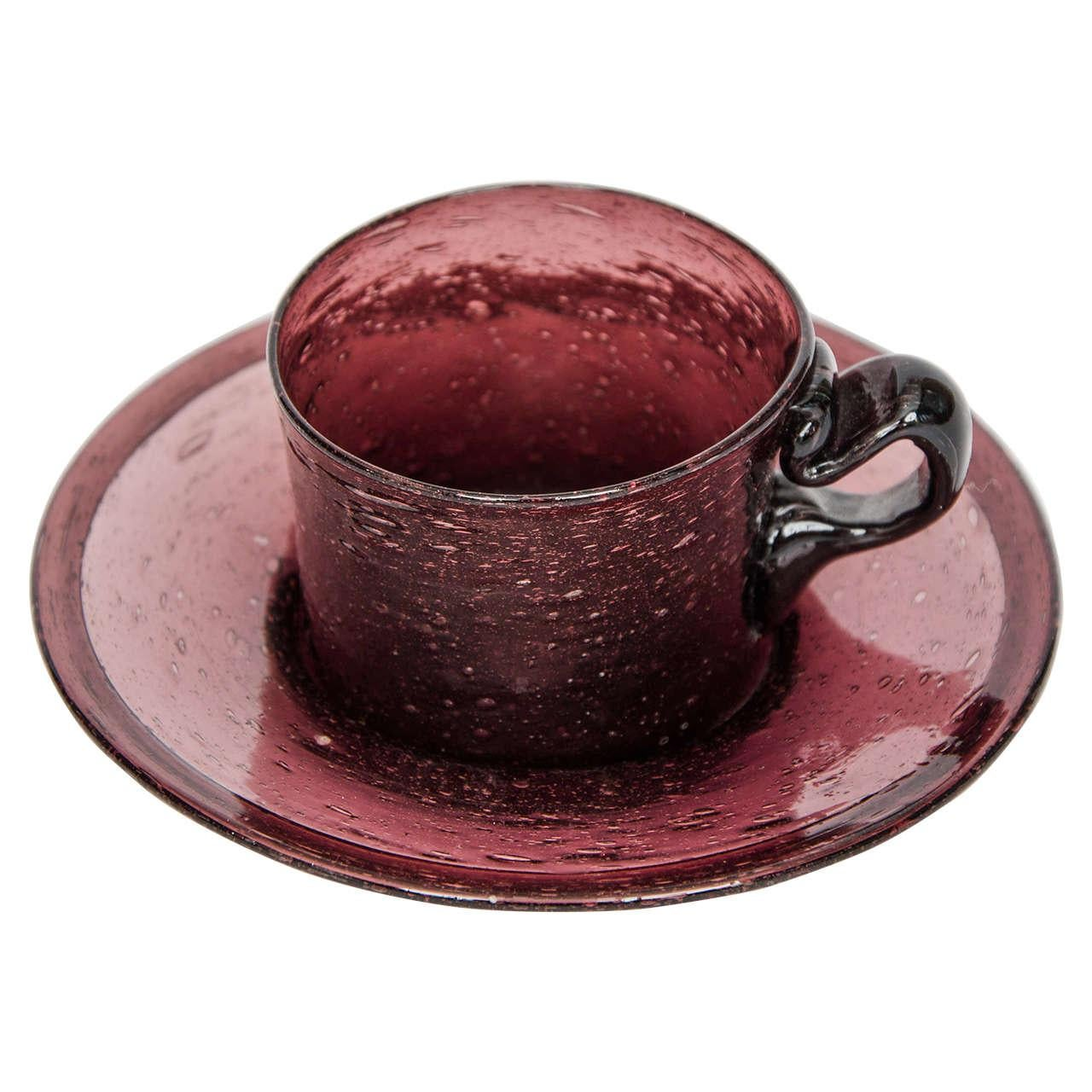 Rare Georgian Amethyst Glass Cup and Saucer Hand-Blown, circa 1800
