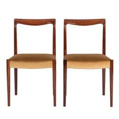 Pair of Scandinavian Rose Wood Dining Chairs in Camel Mohair Velvet, 1970