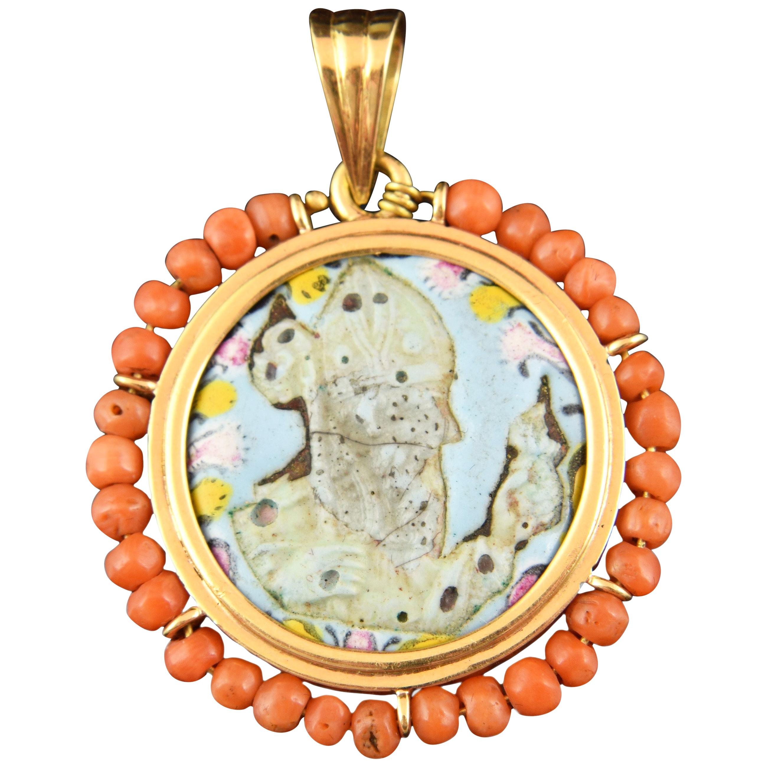 Devotional Pendant, Gold, Coral, Enamels, Possibly, 18th-19th Century