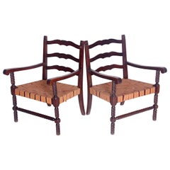 Set of Two Carved Armchairs, 1950s