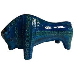 1980 Post Modern Italian Design Bull in Turquoise Enameled Ceramic