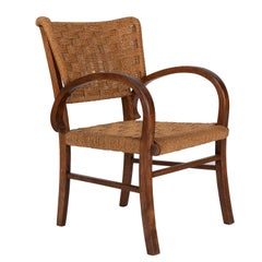MId-Century Small French Armchair in Handwoven Straw, 1970