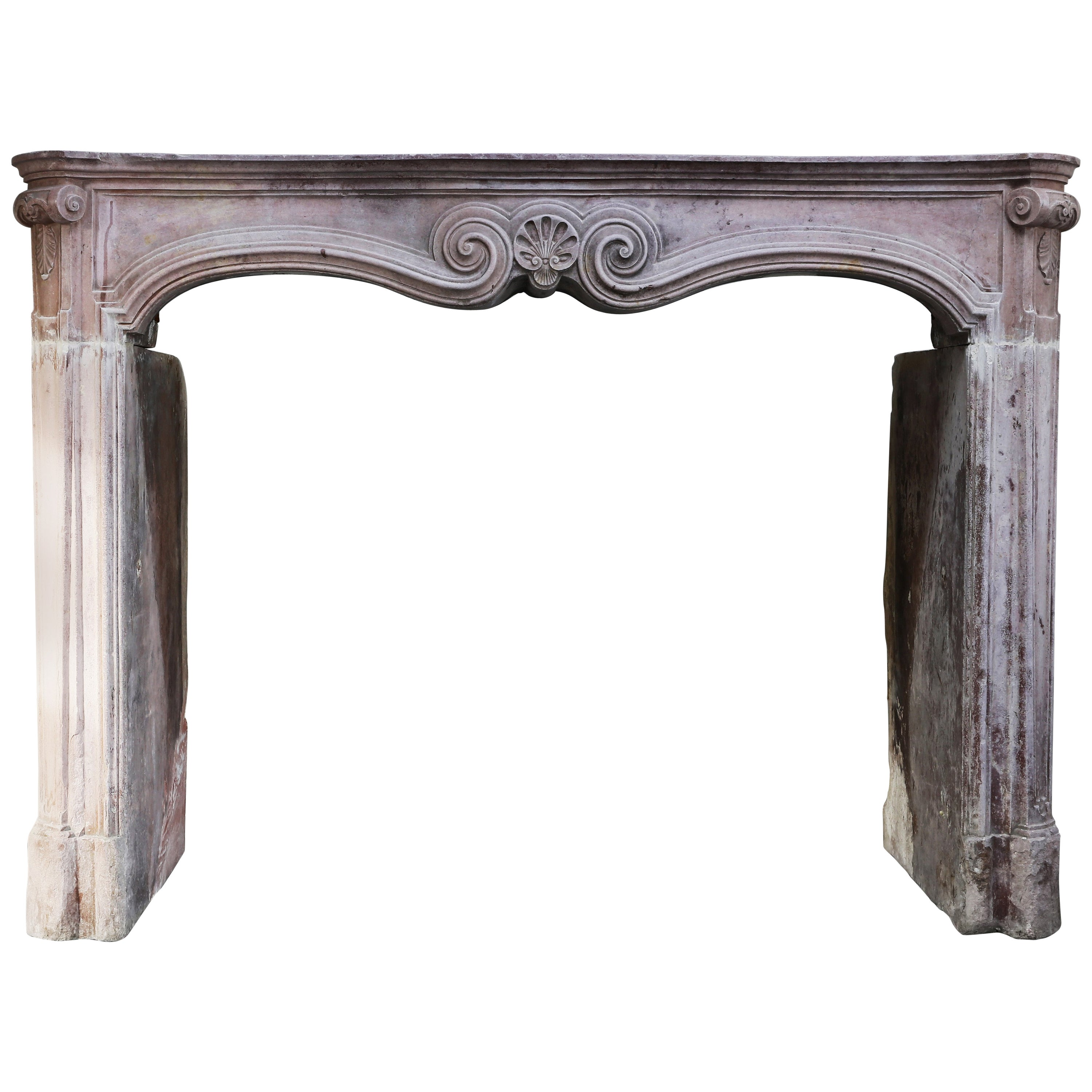 Antique Mantel of Marble Stone, Style Louis XV, 19th Century