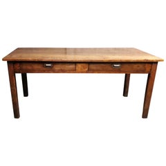 19th Century Country Elm and Cherry Refectory Table