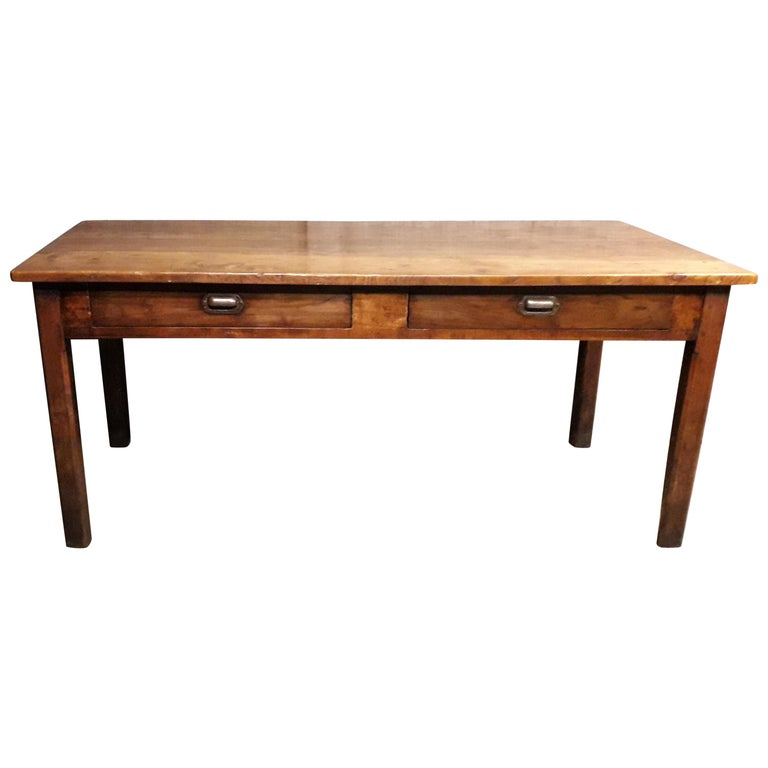 19th Century Country Elm and Cherry Refectory Table For Sale