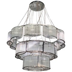 New Chrome and Glass Circular Chandelier
