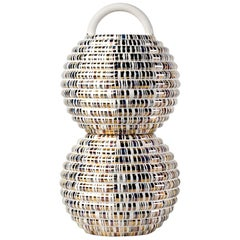 Stephen Burks Contemporary Double Ceramic Vase in Gold Grasso Lines