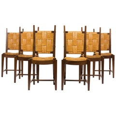 Chairs in Walnut and Straw 1950 Set of 6