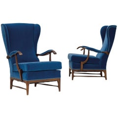 Paolo Buffa Wingback Lounge Chairs 1960s wood and leather