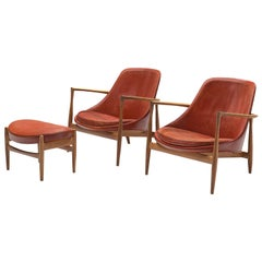 Ib Kofod-Larsen 'Elizabeth' Chairs with Ottoman in Original Aged Leather