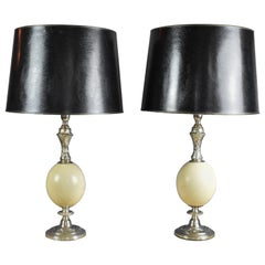 Vintage French Silver Plate and Ostrich Egg Table Lamps