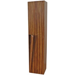 Tower Cabinet, Handmade, Solid Zebra Wood, Made in Germany, High Cabinet