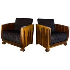 Original 1930s Art Deco Pair of Club Chairs, Chocolate Brown Velvet Upholstery
