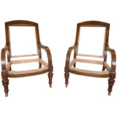 Pair of Low Oak 19th Century Gillows Style Armchairs