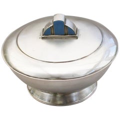 Art Deco Silver and Enamel Bowl & Cover by Helena Mary Ibbotson, Sheffield, 1934