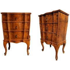 Pair of French Provincial Bedside Cabinets in Walnut Marquetry, Early 1900s