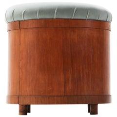 Italian Mid-Century Modern Velvet Upholstered Ottoman with Storage