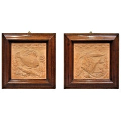 19th Century Pair of Terracotta Plaques of Sculpted Fish